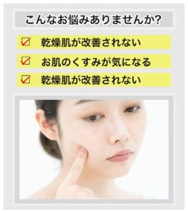 女性がお肌のシミやくすみ、乾燥肌に悩んでいる写真です。